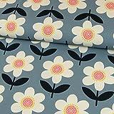 Stoffe Werning Baumwolljersey große Blumen Retrolook jeansblau Damenstoffe Modestoffe - Preis für 0,5 m -