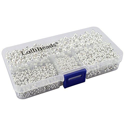LolliBeads (R) Schmuckperlen, runde Abstandhalter-Perlen aus Metall, metall, Silver 2100 Pcs Mixed Size, Assorted