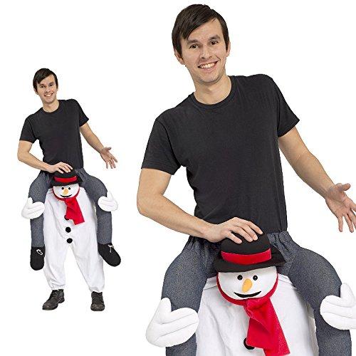Kostüm Erwachsene Für Schneemann (Piggyback Kostüm Herren Schneemann Eismann Ride On Trag mich Maskottchen JGA Stag)