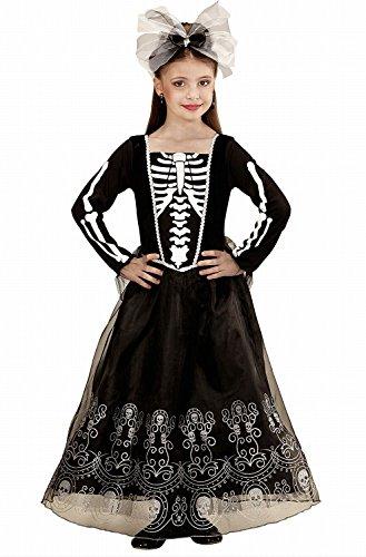 (Widmann 02247 - Kinderkostüm Skeletria, Kleid, Haarreif mit Schleife, Juwel und Tüll, Größe 140)