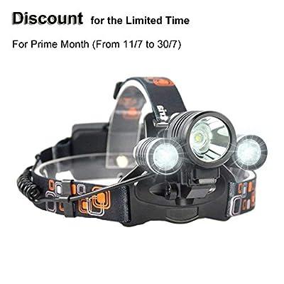 Irontria Rabatt für Prime Monat LED Stirnlampe Kopflampe Fahrrad Scheinwerfer Wiederaufladbare Wasserdicht 2000 Lumen für Camping Radfahren Angeln Abenteuer von Irontria - Outdoor Shop