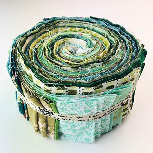 Lucky Dip 100% Baumwolle Jelly Roll in grün (42 Streifen mittelschwer) -