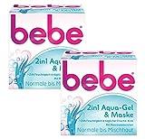 bebe 2in1 Aqua-Gel & Maske - Kühlendes Feuchtigkeitsgel & Feuchtigkeitsmaske - für Normale bis Mischhaut, 2er pack (2 x 50 ml)