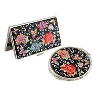 Set Miroir de Poche + Porte carte de visite Nacre Collection fleur PIVOINE ROUGE