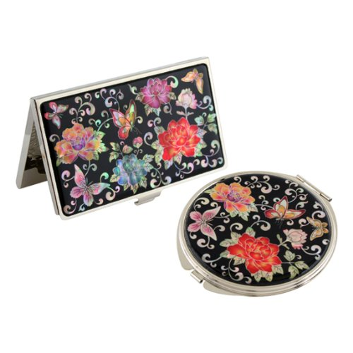 Set Miroir de Poche + Porte carte de visite Nacre Collection fleur PIVOINE ROUGE