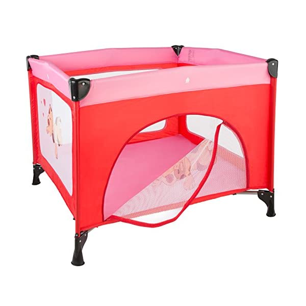 TecTake Portable Child Baby Infant Playpen Travel Cot Bed Crawl Play Area new - different colours - (Pink | No. 402206)  Only the best for my baby: Our high-quality manufactured baby playpen is excellently suited to play, crawl around and to sleep. // Total dimensions: (LxWxH): 105 x 105 x 78 cm. As it is especially space-savingly collapsible, you won't only use it at home but also when travelling. // Dimensions collapsed (LxWxH): approx. 94 x 20 x 20 cm. The side elements are furnished with breathable mesh-textures, so that you can always keep an eye on your little darling. In addition, the playpen has a padded sleep mat and thus serves as a small travel cot. 3
