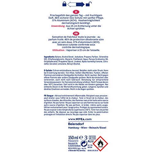 NIVEA Deo Spray Fresh Fruity im 6er Pack (6 x 150 ml) Deo ohne Aluminium für Damen mit 48h Deo-Schutz frisches Deodorant für langanhaltende Frische