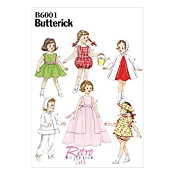Butterick Patterns B6001OSZ Clothes Sewing Template for 18-Inch Doll Sewing Template, One Size Only