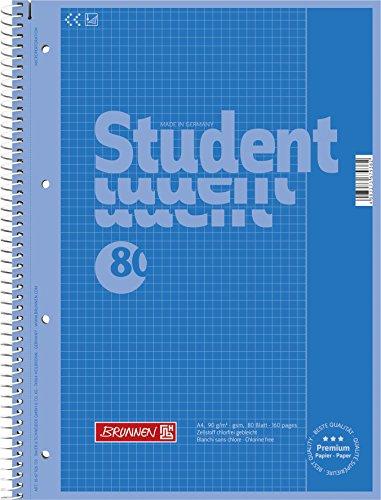 Brunnen 1067926133 Notizblock/Collegeblock Student Colour Code (A4 kariert, Lineatur 26, 90 g/m², 80 Blatt) blau