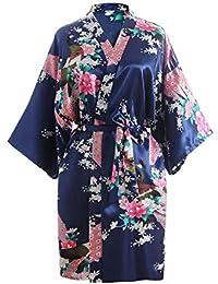 9d55acae75cd58 OLESILK Damen Kurz/Lang Morgenmantel Satin Kimono Kurzarm Robe Bademantel  mit Gürtel V-Ausschnitt Nachtwäsche Negligee mit…