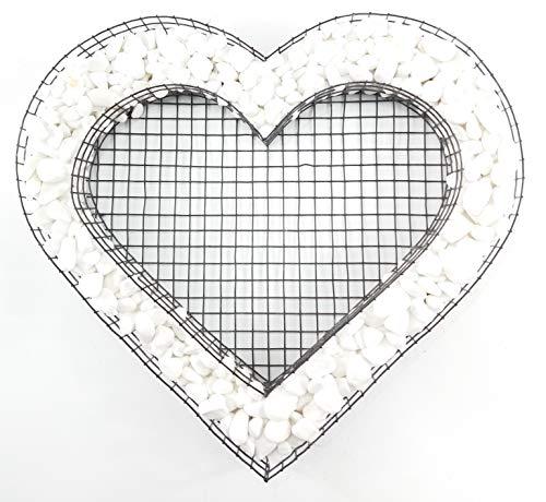 Gartenwelt Riegelsberger Pflanzschale Herz Gitter mit Carrara für Allerheiligen Grabschmuck Grabgestaltung Grabdeko