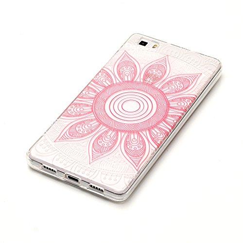Huawei P8 Lite Hülle, E-Lush TPU Soft Silikon Tasche Transparent Schale Clear Klar Hanytasche für Huawei P8 Lite Durchsichtig Rückschale Ultra Slim Thin Dünne Schutzhülle Weiche Flexibel Handyhülle Kr Rosa Sonnenblumen