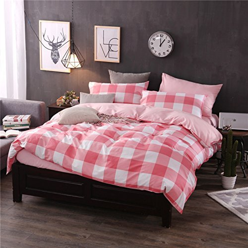 DACHUI Twill Baumwolle Bettwäsche set von 4 Doppelbett lattice stripe Home Textile, rosa Raster, 200 * 230 cm