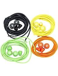 elastische Schnürsenkel mit Schnellverschluss, 4 Paar L 120cm D 3mm, für Laufen Triathlon Wandern Sport Freizeit, von flowign