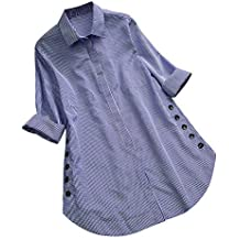 Morwind Camisetas Mujer, Camisa Estampada a Cuadros túnica vaporosa de Manga Larga Sueter Jersey con