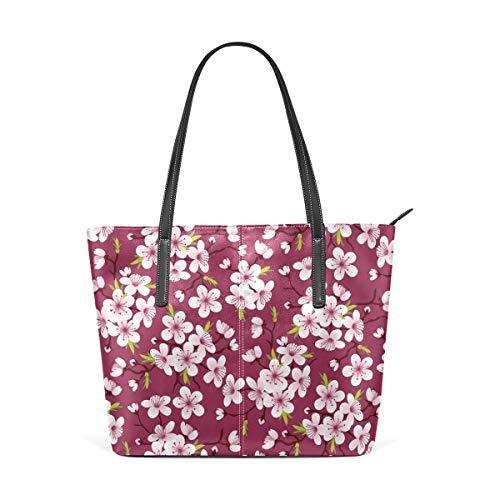 xcvgcxcbaoabo Mode Handtaschen Einkaufstasche Top Griff Umhängetaschen Cherry Blossoms Pink Women's PU Leather Tote Shoulder Bags Handbags Casual Bag -