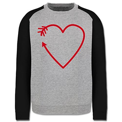 Romantisch - Herz Pfeil - Herren Baseball Pullover Grau Meliert/Schwarz
