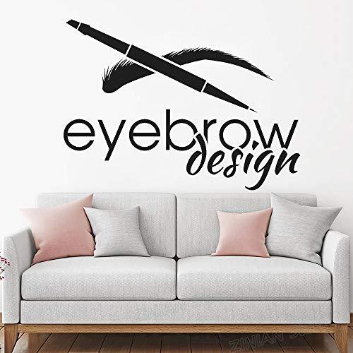 zqyjhkou Sopracciglio Design Salone di Bellezza Logotype Brow Art Wall Stickers Smontabile della Decorazione della Parete Murale Ciglia Make Up Adesivo per Le Ragazze Z866 77X56 cm