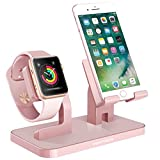 Phone Stand, Smartwatch Halterung, iPhone iWatch Dock, BENTOBEN 2 in 1 Apple Watch Stand Ladestation Docking Station Desktop Dock für iPhone Xs Max 8 7 6 SE iWatch iPad Mini Smartwatch Samsung Galaxy S7 S8 S9 Plus Huawei P20 Lite Honor usw. Roségold
