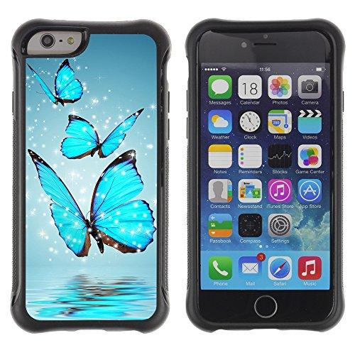Graphic4You Blue Butterfly And Flowers Design Shockproof Anti-Rutsch Weichen Hülle Case Tasche Schutzhülle für Apple iPhone 6 / 6S Design #8