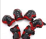 6Kinder Kids Sport schutzausrüstungen Knie Ellenbogen Handgelenk Sicherheit Pad Set (rot schwarz)