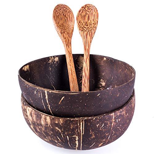 2er Set Schalen und Löffel aus echter Kokosnuss | Handgemacht, vegan, umweltfreundlich | Poliert mit Kokosnussöl | Perfekt für Nudeln, Smoothies, Müsli - Mit Dessert-schalen Löffel