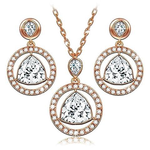 LADY COLOUR Amulette Bijoux Parure Femme Collier Boucles d'oreilles cristaux de Swarovski bijoux cadeau anniversaire fete des meres idee cadeau noel cadeau saint valentin amoureux mere amour mariage