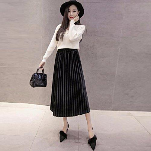 Fille Jupe patineuse évasée en velours extensible Femmes Vintage Jupe évasée plissée en taille empire Robe Noir