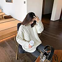 IJL otoño e Invierno Moda Simple Retro retorcido Medio Cuello Grueso Cabeza con suéter Femenino Rojo M Trend