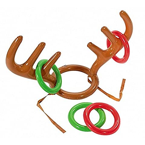 Honearn Christmas Party Toss Game Inflatable Reindeer Antler Hat with Rings Family Kids Office Xmas Fun Games