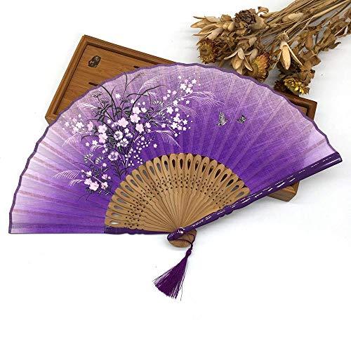 XIAOHAIZI Handfächer,Hohl Pflanze Blume Schmetterling Lila Bambus Leinen Stoff Sommer Falten Hand Fan Hochzeit Damen Geschenk Falten Fan Wanddekoration Tanz Fan - Sommer-stoffe-leinen-stoff