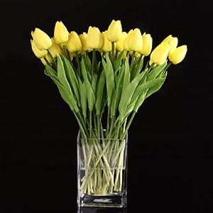 SODIAL(R) 10pcs Flor Del Tulipan Amarillo De Latex De Tacto Real Con Las Hojas Por Un Ramo Para Ddecorar La Boda