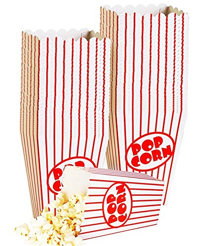 Kino Kleine Popcorn-Boxen – Papier Popcorn Boxen gestreift rot und weiß – ideal für Film Nacht Oder Film Party Thema, Theater Motto Dekorationen oder Karneval Party Circus etc.. (40)