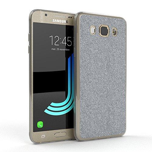 Samsung Galaxy J5 (2016) Hülle - EAZY CASE Handyhülle - Ultra Slim Glitzer Schutzhülle aus Silikon in Rosé Glitzer Silber