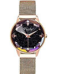 ALXDR Relojes de Cuarzo Reloj para Mujer Reloj de Cuarzo Vanchy Bunze® con  Esfera de Cristal para Mujer Pulsera de Acero Starry Sky… f29c000c33fe