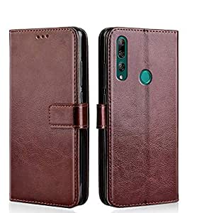 WebKreature® Leather Flip Wallet Case with TPU Shockproof Cover for Honor 9X (Brown, Honor 9X)