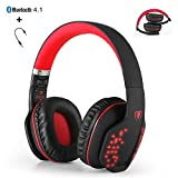 Bluetooth Wireless Headset, yocuby faltbar Noise Cancelling Gaming Kopfhörer mit Mikrofon und LED-Lichtern für PC Tablet iPhone iPad Samsung Smartphone Laptop [Xbox Ones PS4 benötigt das Audiokabel] (schwarz & rot)