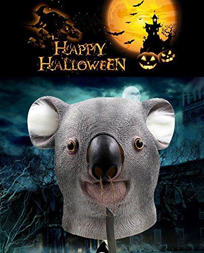 Head Mask Latex Full Head Mask Animal Head Mask for Halloween Cosplay Costume Party Decorations   Koala