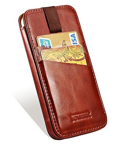 Luxus Tasche für Apple iPhone 6S, iPhone 6 und iPhone 7 (4.7 Zoll) / Case Außenseite aus Echt-Leder / Etui Innenseite aus Textil / Schutz-Hülle mit Ausziehband und Kartenfächern / ultra-slim Cover / V Braun - vintage
