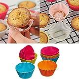 Ronda de silicona suave bizcocho de chocolate Muffin Cupcake Liner Cup molde para hornear 6pcs,azul claro
