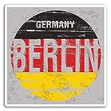 2 x 10cm Berlín Alemania Bandera pegatinas de vinilo de la UE - del viaje del equipaje # 19280 (10 cm de ancho)