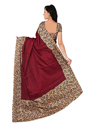 Winza Designer Cotton Silk Saree With Blouse Piece (Mn-11004_Beige & Maroon Saree Sarees_Free Size)