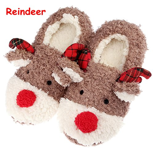 Slippers for Women, Cute Reindeer Animal Fluffy Womens House Indoor Autumn Winter...