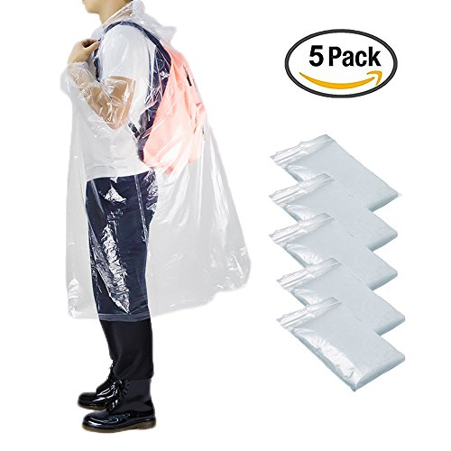 Opret Disposable Rain Poncho, Emergency Poncho Transparent Waterproof Raincoat with Hood for Women and Men, Pack of 5