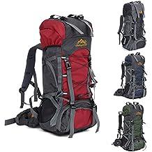 Wuiyepo Mountaintop 55L Mochila de Senderismo Impermeable Multifunciona Backpack / trekking bolsa de mochilero / Escalada Mochila / Mochila de camping / mochila de viaje para el alpinismo con cubierta de la lluvia (Rojo)