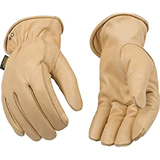 Kinco 98RL-M-1 Full grain cowhide, Easy-On cuff with elastic wrist, Ergonomic keystone thumb, Turned leather hem, Heatkeep thermal lining, Size: M