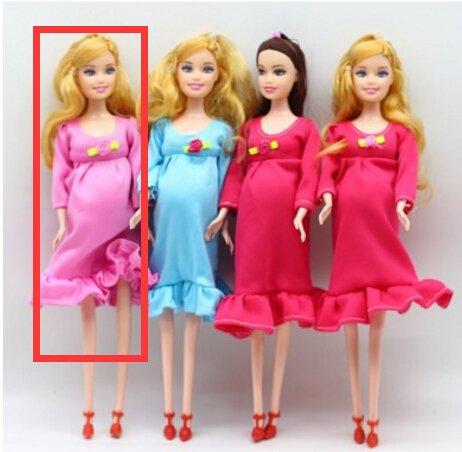Fuwahahahahah 1 Stück DIY Braun Haar echte Schwangere Mutter Puppe Have A Baby in Ihrem Bauch für Barbie-Puppen, Kinderspielzeug, Geschenk rose