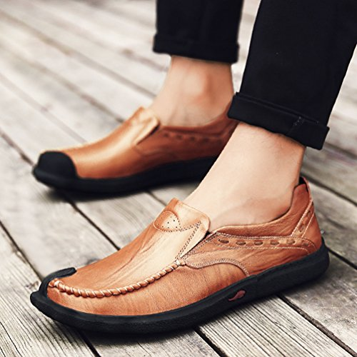Yiiquan Uomo Lace-up Sportivo Mocassini in PU pelle piatto Slip On Traspirante Casuale Shoes Stile 2