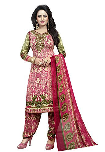 Ishin Synthetic Pink Party Wear Wedding Wear Casual Wear Daily Wear Bollywood New Collection Latest Design Printed Trendy Unstitched Salwar Suit Dress Material (Anarkali/Patiyala) With Dupatta  available at amazon for Rs.299