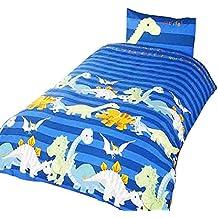 Dinosaur - Juego de Fundas nórdico/edredón para niños (Cama de 90/Azul)